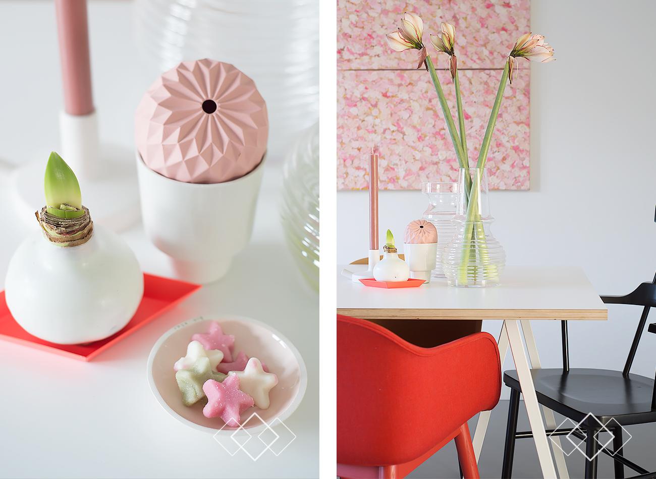 rood en roze - staand